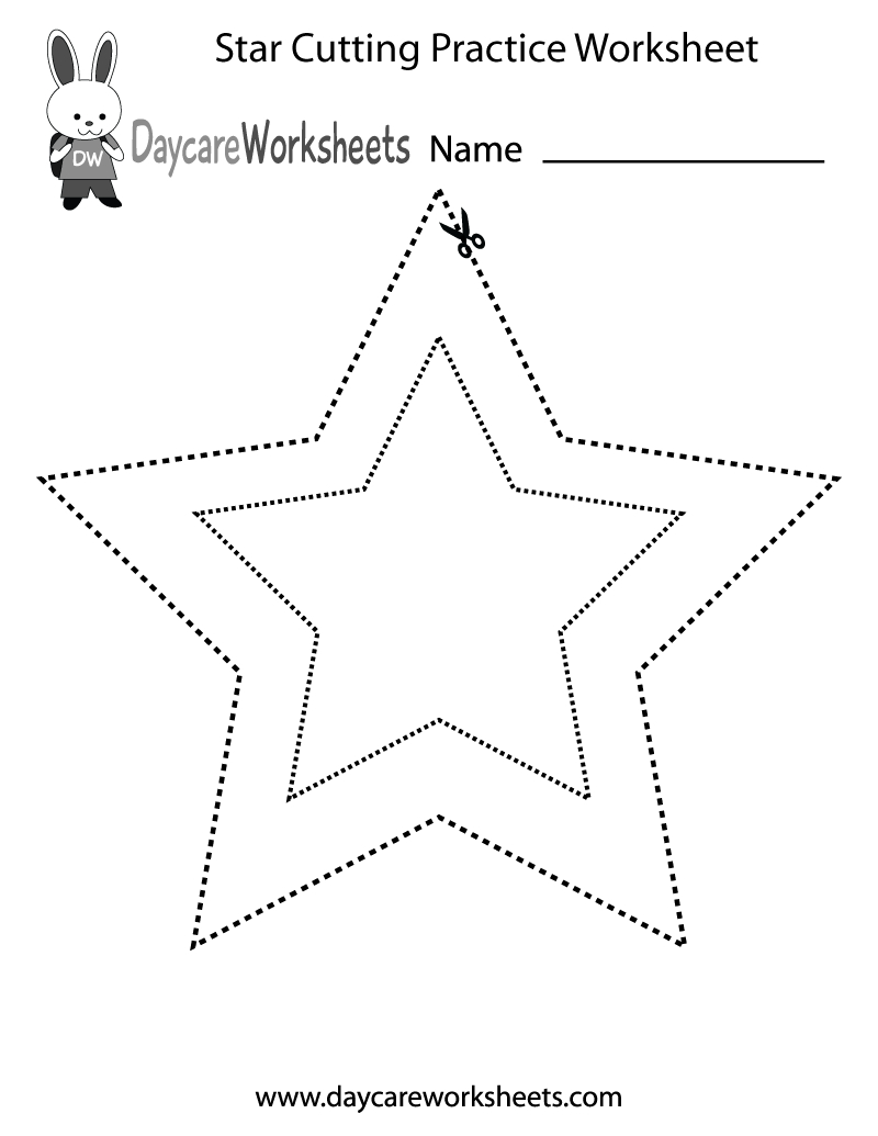 Free Preschool Star Cutting Practice Worksheet | Free Printable Cutting Worksheets For Kindergarten