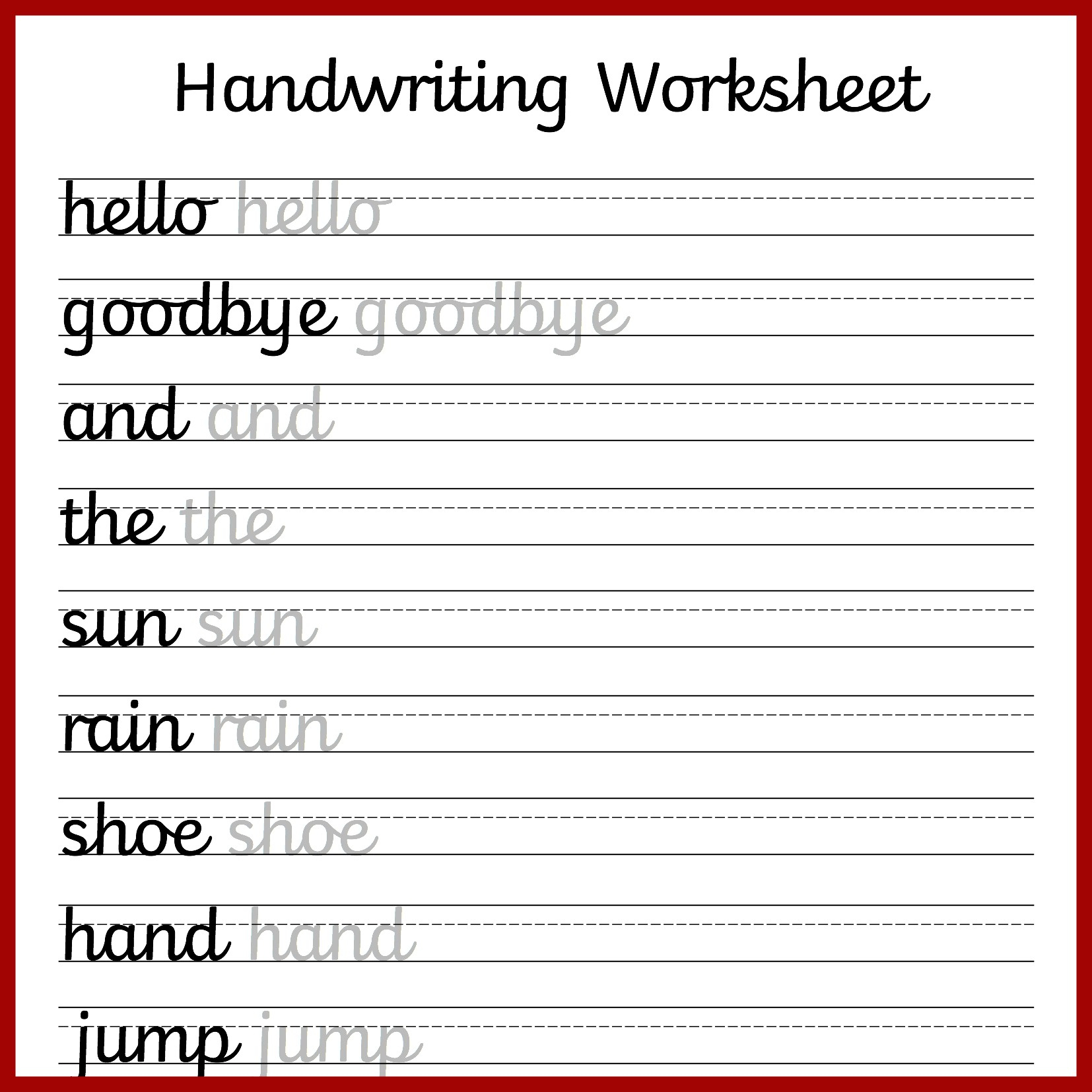Free Preschool Writing Worksheets – With Kindergarten Handwriting | Preschool Writing Worksheets Free Printable