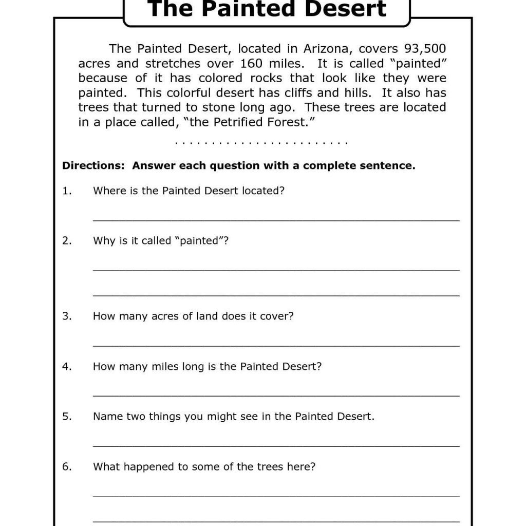 Free Printable 7Th Grade Reading Comprehension Worksheets Grade 3 | Free Printable Comprehension Worksheets For Grade 5
