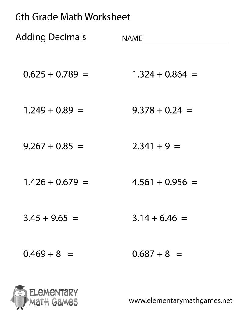 Free Printable Adding Decimals Worksheet For Sixth Grade | Free Printable Worksheets For 6Th Grade