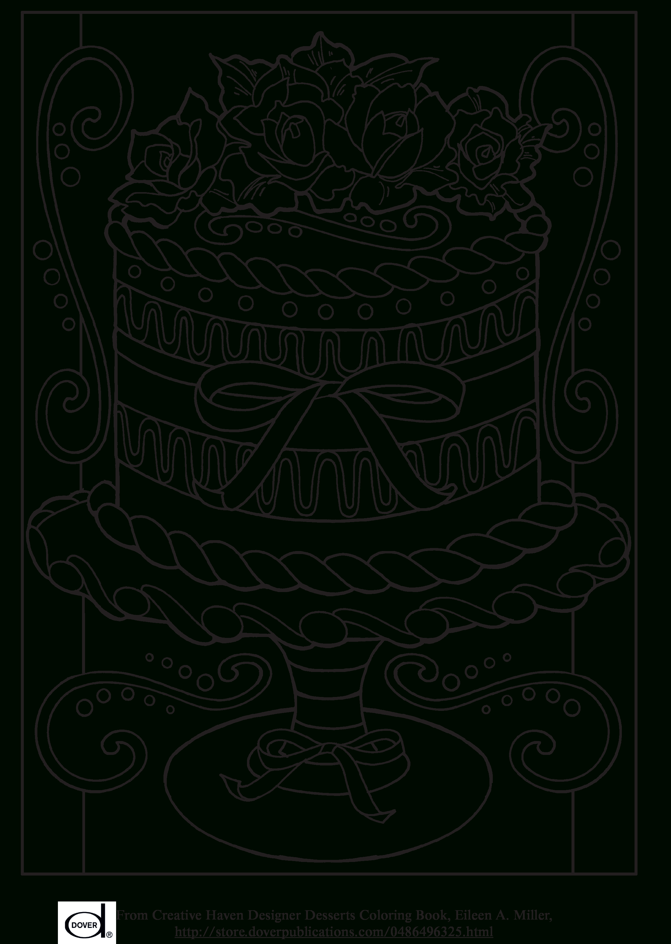 Free Printable Adult Coloring Pages - Wedding Cake | Art: Coloring | Colouring Worksheets Printable