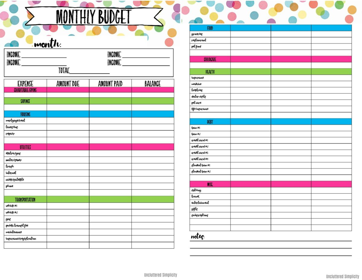 Free Printable Budget Planning Worksheets | Easy Budget Planner Free Printable Worksheets
