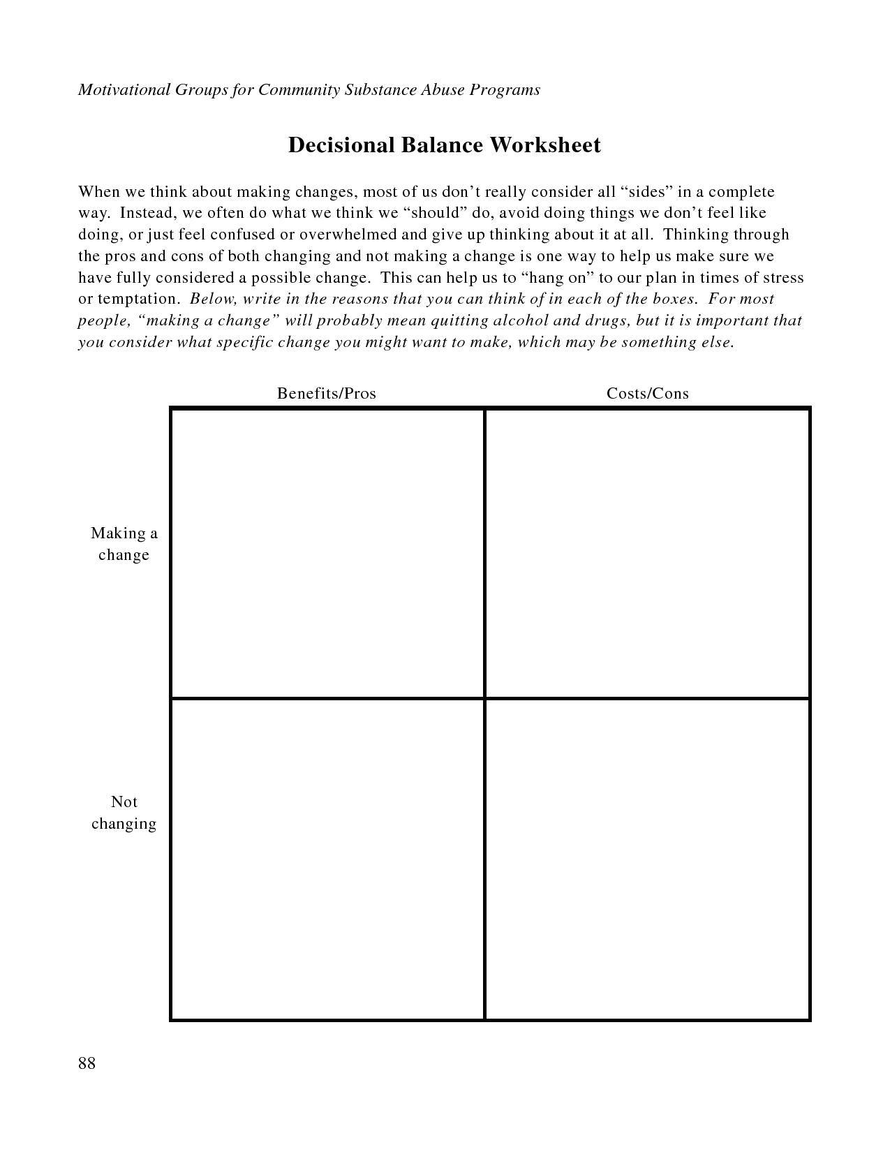 Free Printable Dbt Worksheets   Decisional Balance Worksheet - Pdf   Free Printable Counseling Worksheets