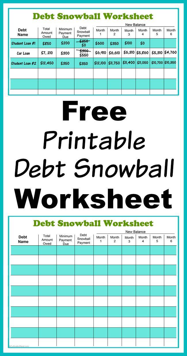 Free Printable Debt Snowball Worksheet | Living Frugally - Money | Free Printable Debt Snowball Worksheet