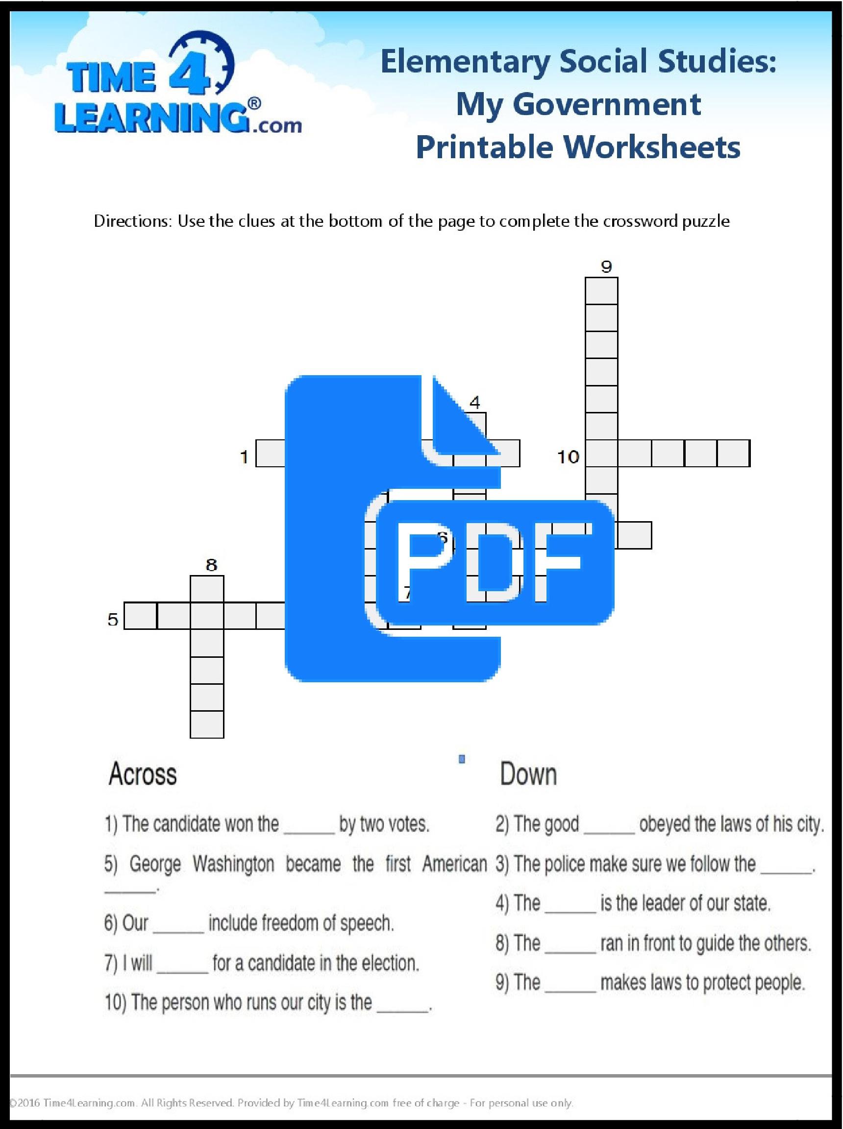 Free Printable: Elementary Social Studies Worksheet   Time4Learning   Printable Social Studies Worksheets