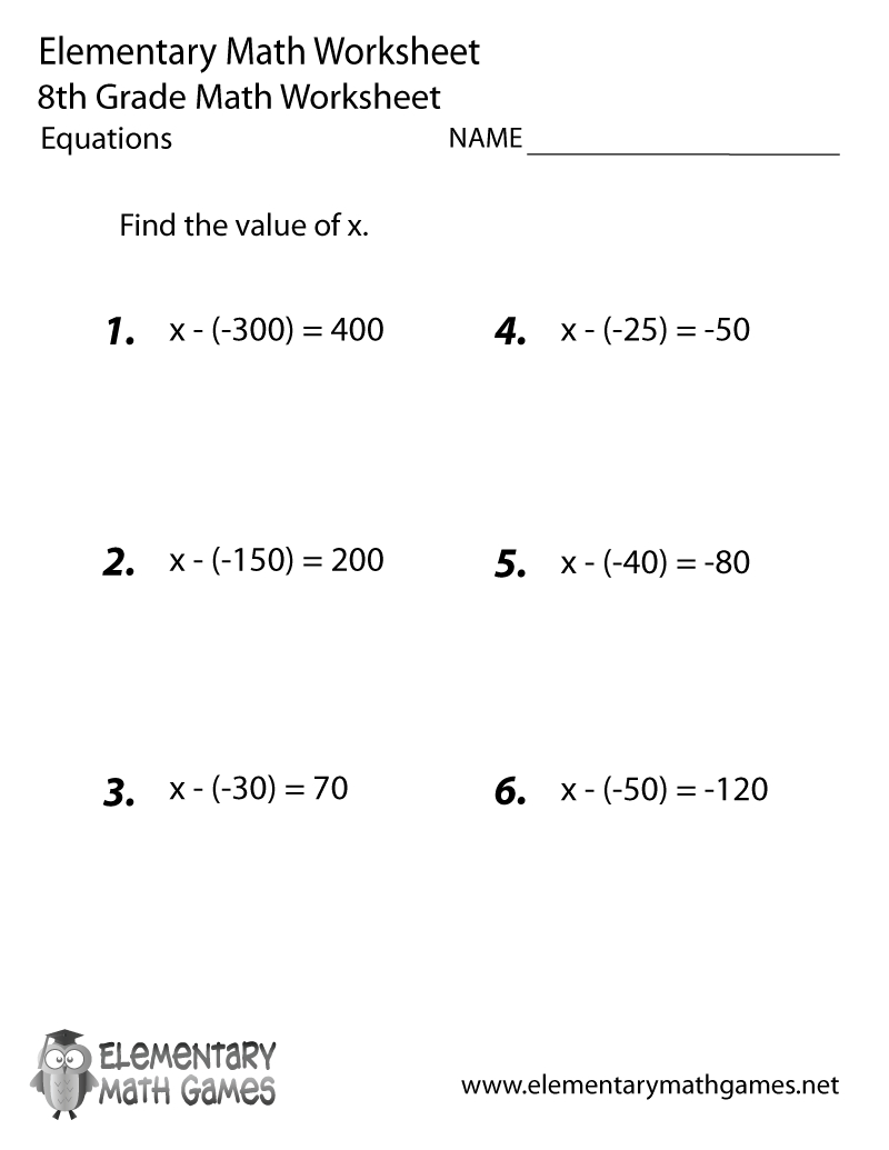 Free Printable Equations Worksheet For Eighth Grade | Free Printable 8Th Grade Math Worksheets