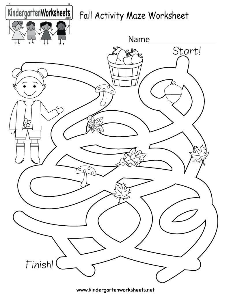 Free Printable Fall Activity Maze Worksheet For Kindergarten - Free   Free Printable Fall Worksheets Kindergarten
