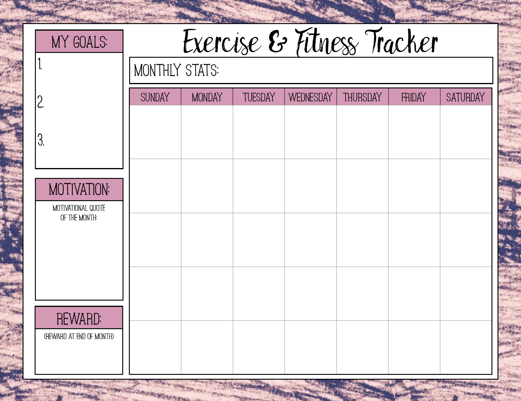 Free Printable Fitness Trackers: 3 Different Monthly Designs   Free Printable Fitness Worksheets