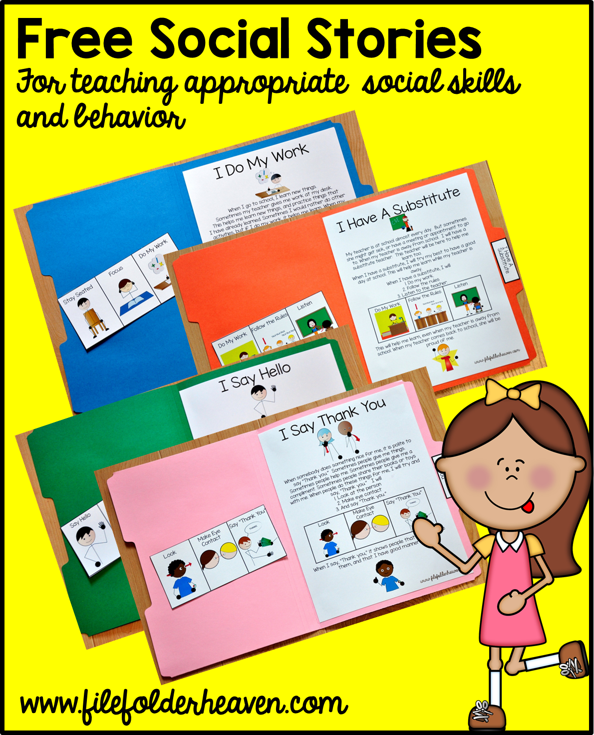 "Free, Printable ""folder Stories."" Simple One Page Social Stories 
