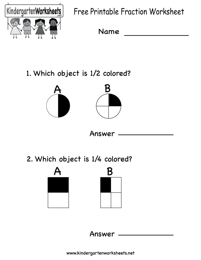 Free Printable Fraction Worksheet - Free Kindergarten Math Worksheet | Free Printable Fraction Worksheets For Kindergarten