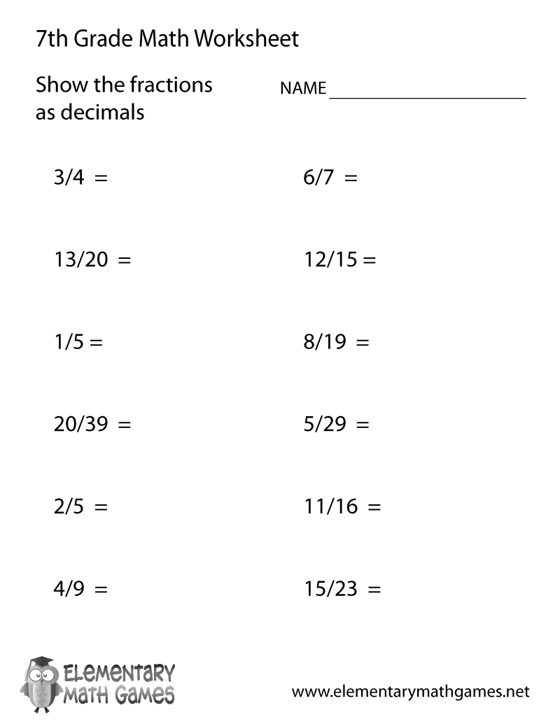 Free Printable Fractions And Decimals Worksheet For Seventh Grade | Seventh Grade Worksheets Printable