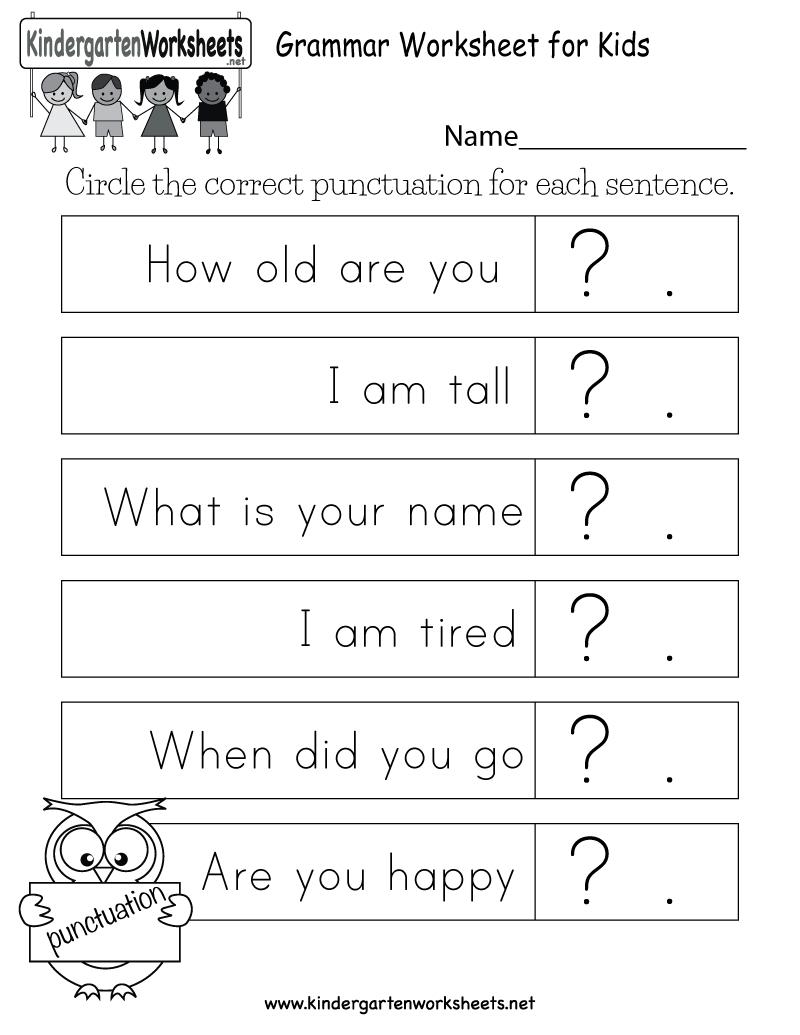 Free Printable Grammar Worksheet For Kids For Kindergarten | Free Printable Grammar Worksheets