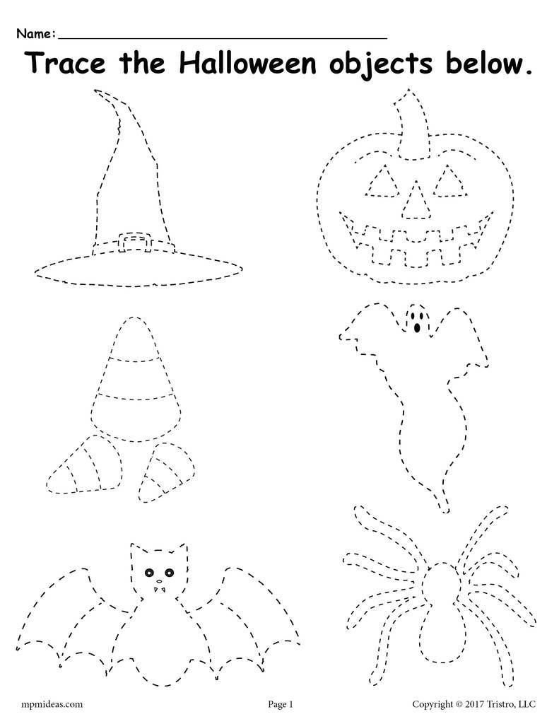 Free Printable Halloween Tracing Worksheet | Halloween | Halloween | Preschool Halloween Worksheets Printables