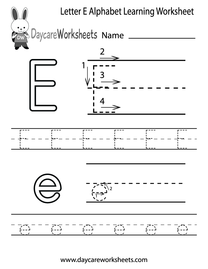 Free Printable Letter E Alphabet Learning Worksheet For Preschool | Printable Letter E Worksheets For Preschool