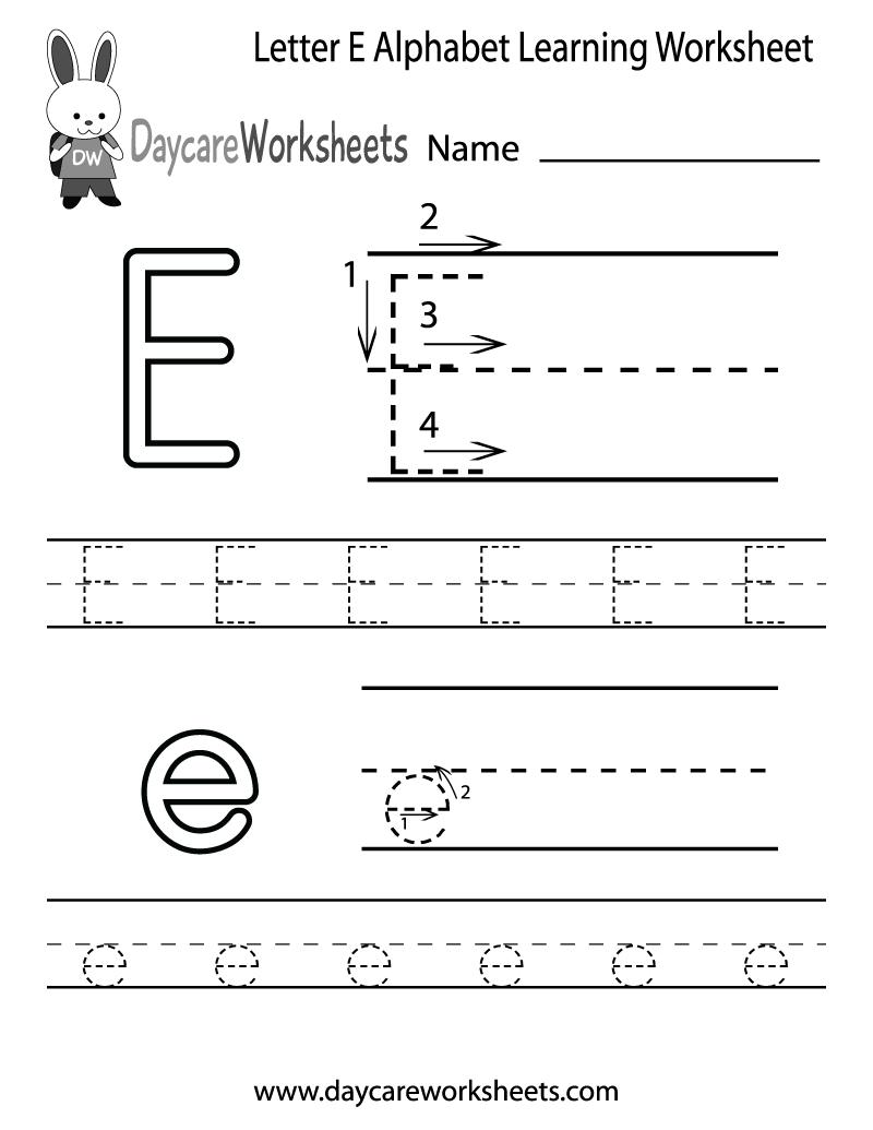Free Printable Letter E Alphabet Learning Worksheet For Preschool | Printable Letter E Worksheets For Preschool