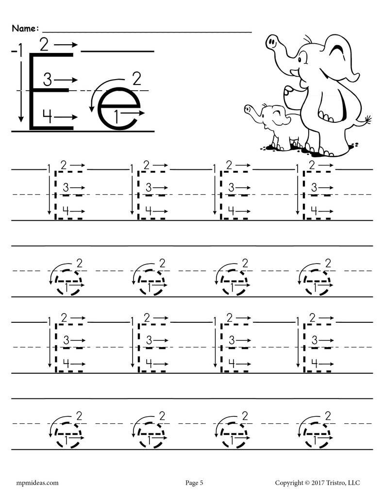 Free Printable Letter E Tracing Worksheet With Number And Arrow | Letter E Free Printable Worksheets