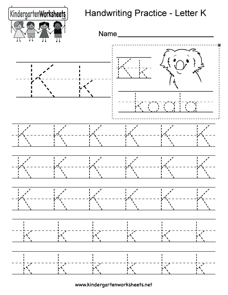 Free Printable Letter K Writing Practice Worksheet For Kindergarten | Free Printable Letter K Worksheets