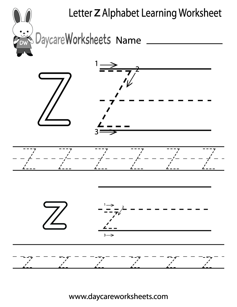 Free Printable Letter Z Alphabet Learning Worksheet For Preschool | Letter Z Worksheets Free Printable