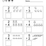 Free Printable Math Addition Worksheet For Kindergarten | Free Printable Math Addition Worksheets For Kindergarten