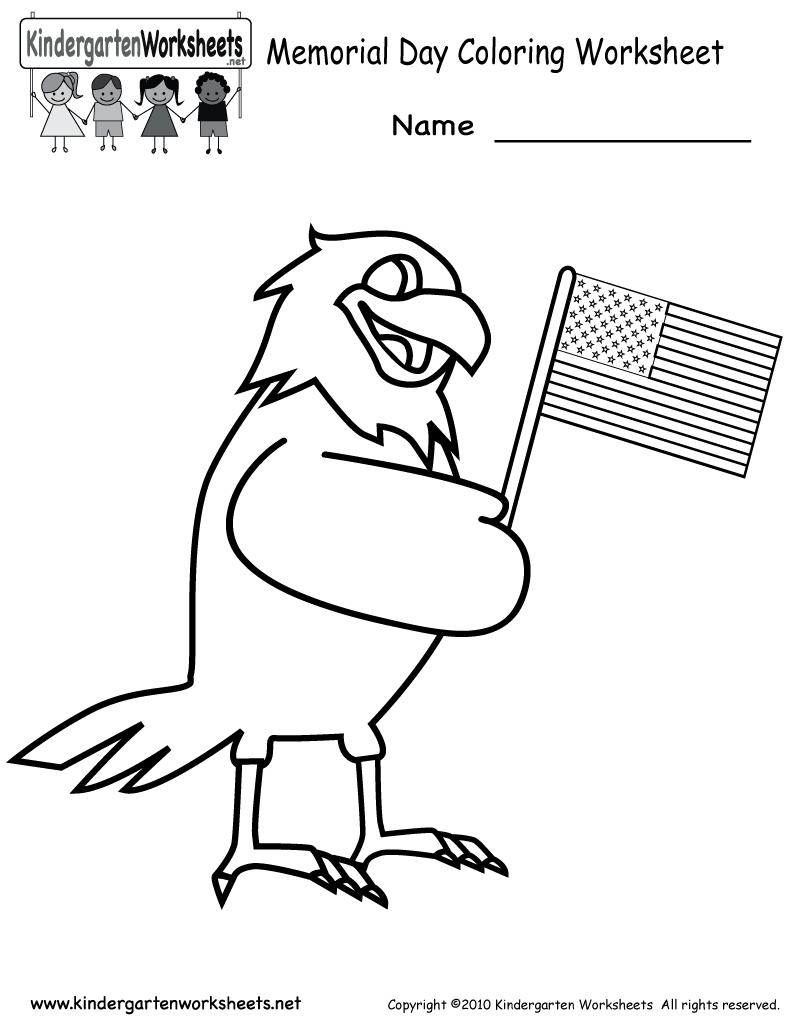 Free Printable Memorial Day Coloring Worksheet For Kindergarten | Memorial Day Free Printable Worksheets