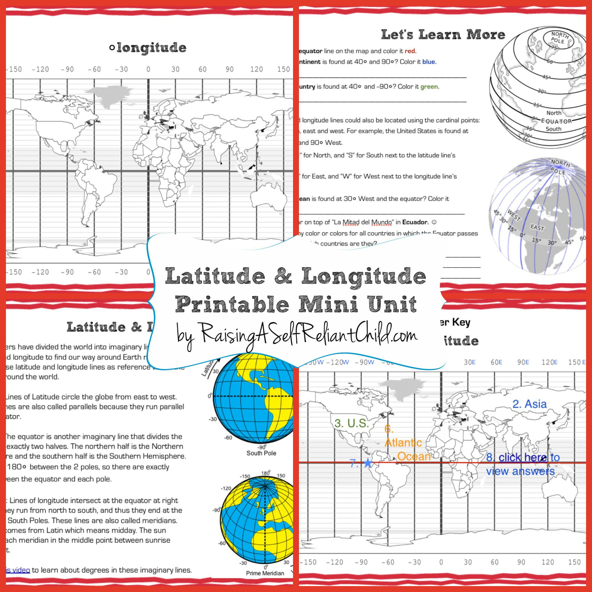 Free Printable Mini Unit Latitude And Longitude For Kids | The | Latitude And Longitude Worksheets Free Printable