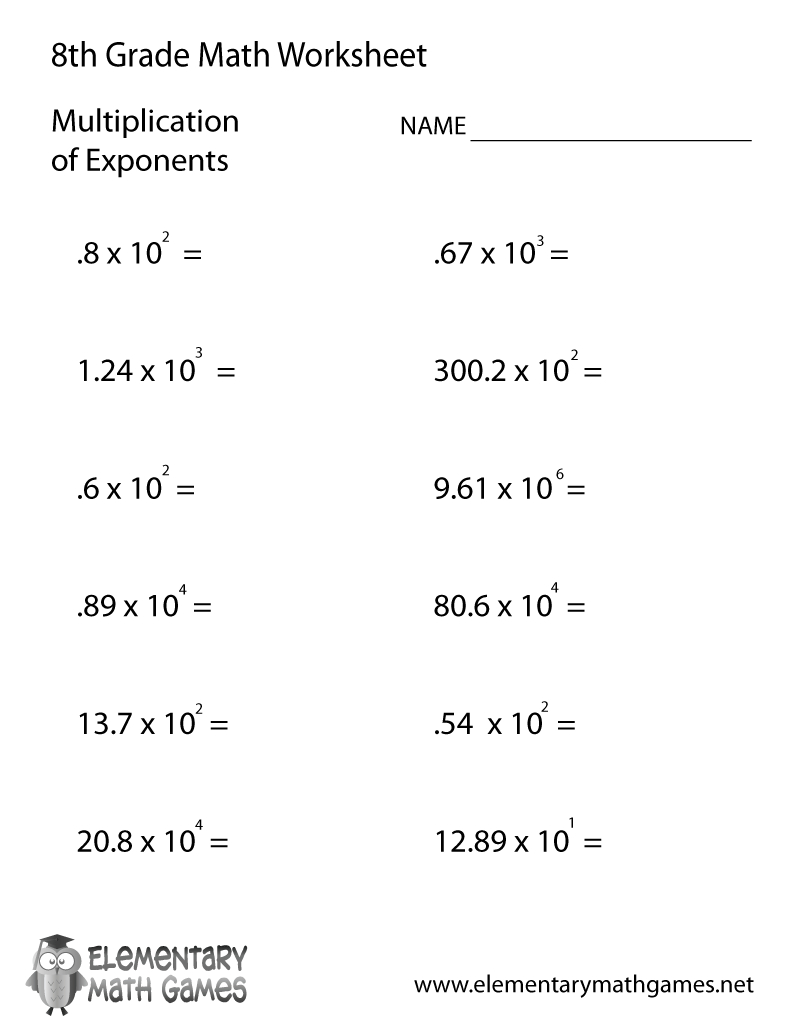 Free Printable Multiplication Of Exponents Worksheet For Eighth Grade | Printable 8Th Grade Math Worksheets