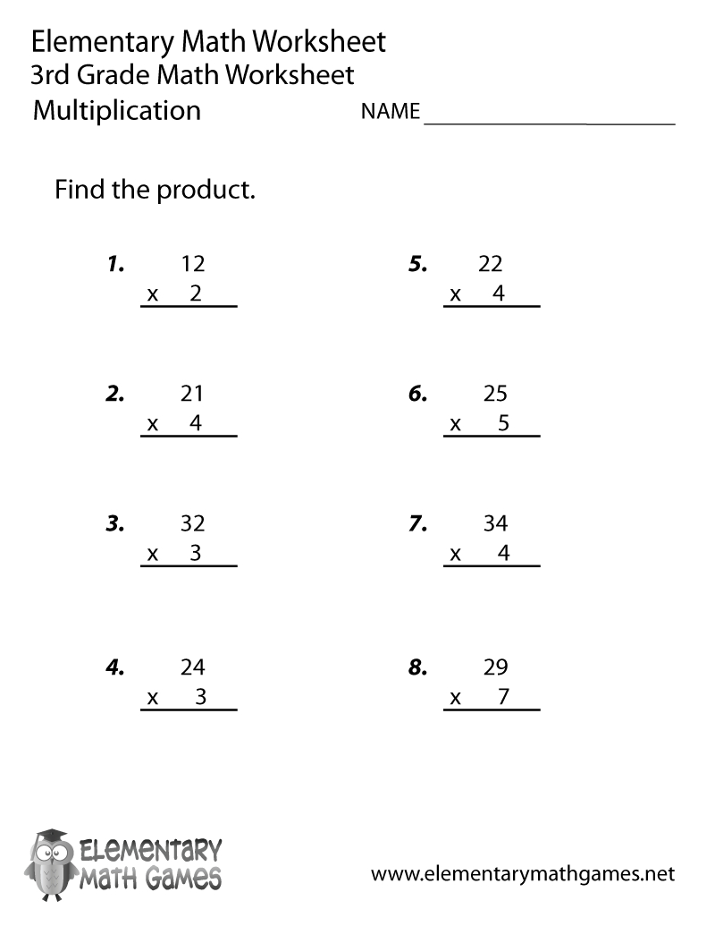 Free Printable Multiplication Worksheet For Third Grade | Free Printable Worksheets For Third Grade Math
