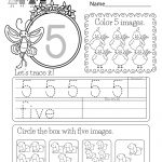 Free Printable Number Five Worksheet For Kindergarten | Free Printable Number Worksheets