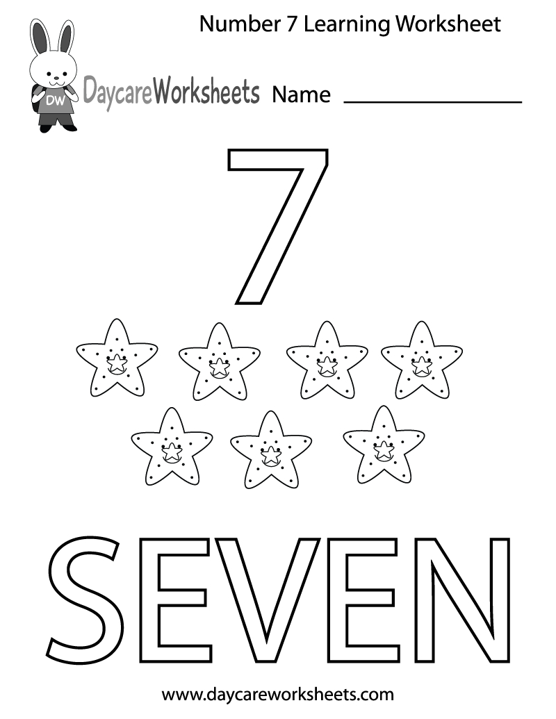 Free Printable Number Seven Learning Worksheet For Preschool | Daycare Worksheets Printable