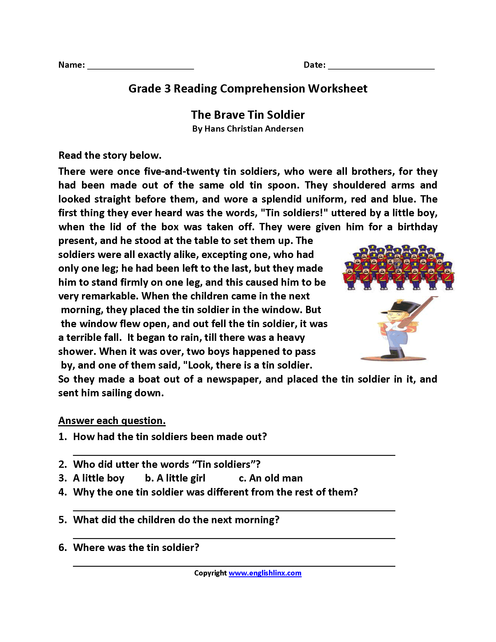 Free Printable Reading Comprehension Worksheets 3Rd Grade For Free | Free Printable Reading Comprehension Worksheets For 3Rd Grade