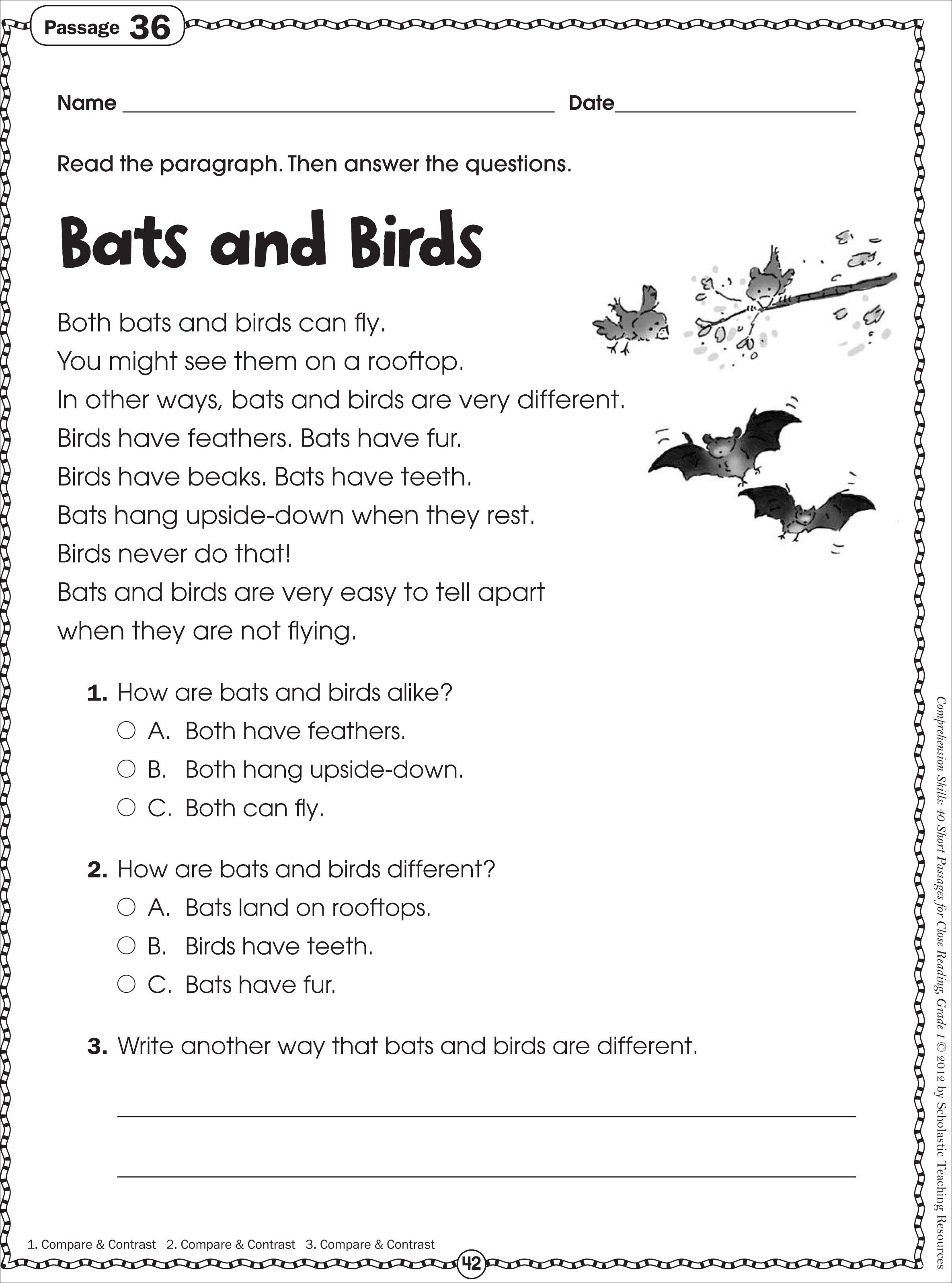Free Printable Reading Comprehension Worksheets For Kindergarten | Free Printable Comprehension Worksheets For Grade 5