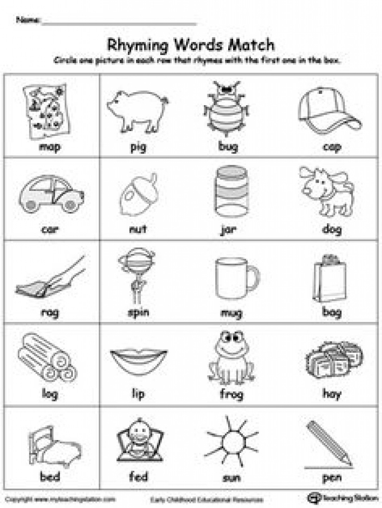 Free Printable Rhymes Rhyming Words Worksheets For Preschool - Free | Free Printable Rhyming Words Worksheets