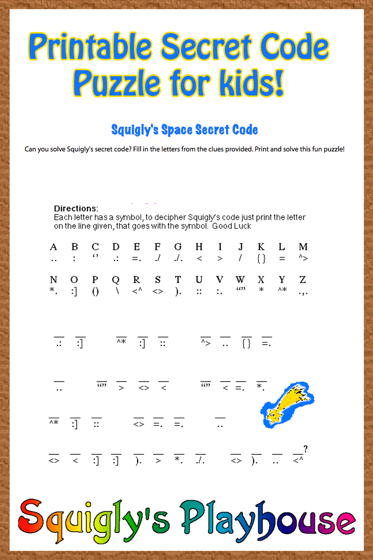 Free Printable Secret Code Word Puzzle For Kids. This Puzzle Has A | Crack The Code Worksheets Printable