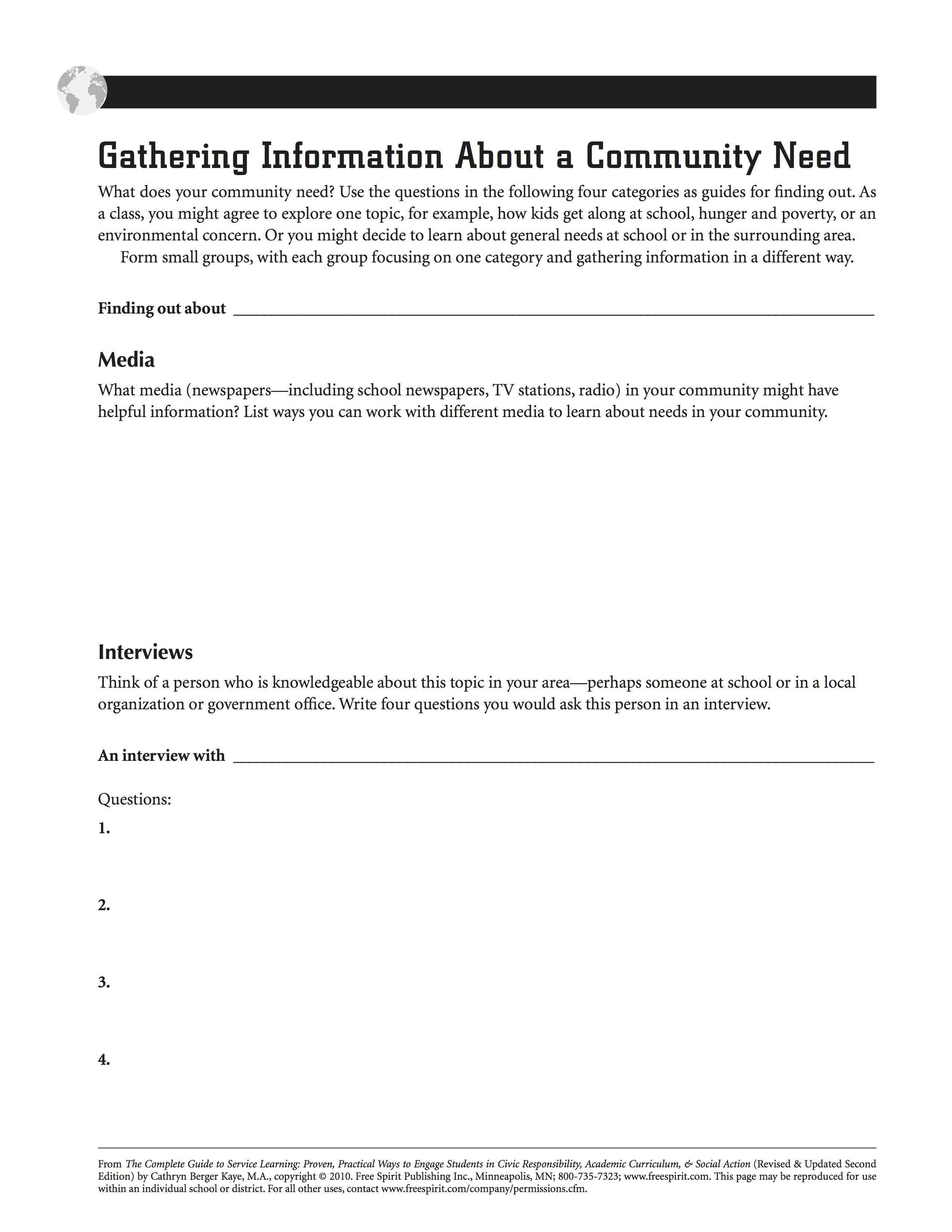 Free Printable Service Learning Worksheet: Gathering Information | Community Service Printable Worksheets
