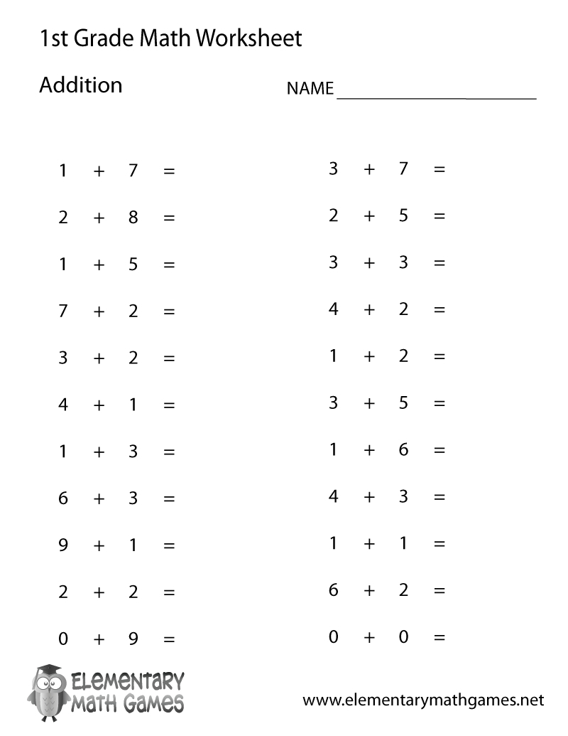 Free Printable Simple Addition Worksheet For First Grade - Free | Free Printable Fraction Worksheets