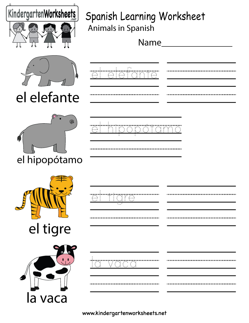 Free Printable Spanish Learning Worksheet For Kindergarten | Printable Spanish Worksheets