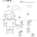 Free Printable Spring Coloring Worksheet For Kindergarten | Free Printable Spring Worksheets For Kindergarten