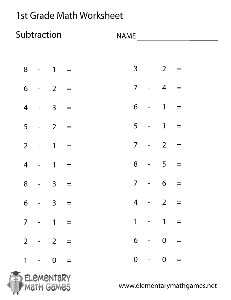 Free Printable Subtraction Worksheet For First Grade | Printable Worksheets For 1St Grade