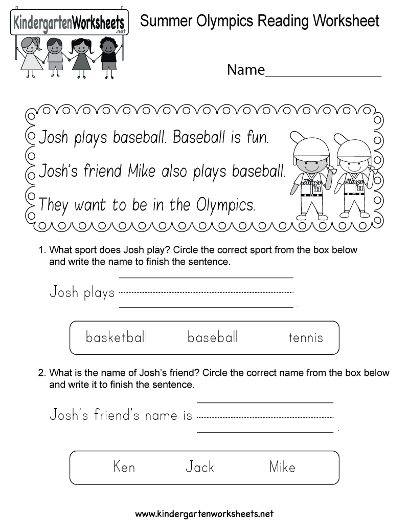 Free Printable Summer Olympics Reading Worksheet For Kindergarten | Olympic Printable Worksheets