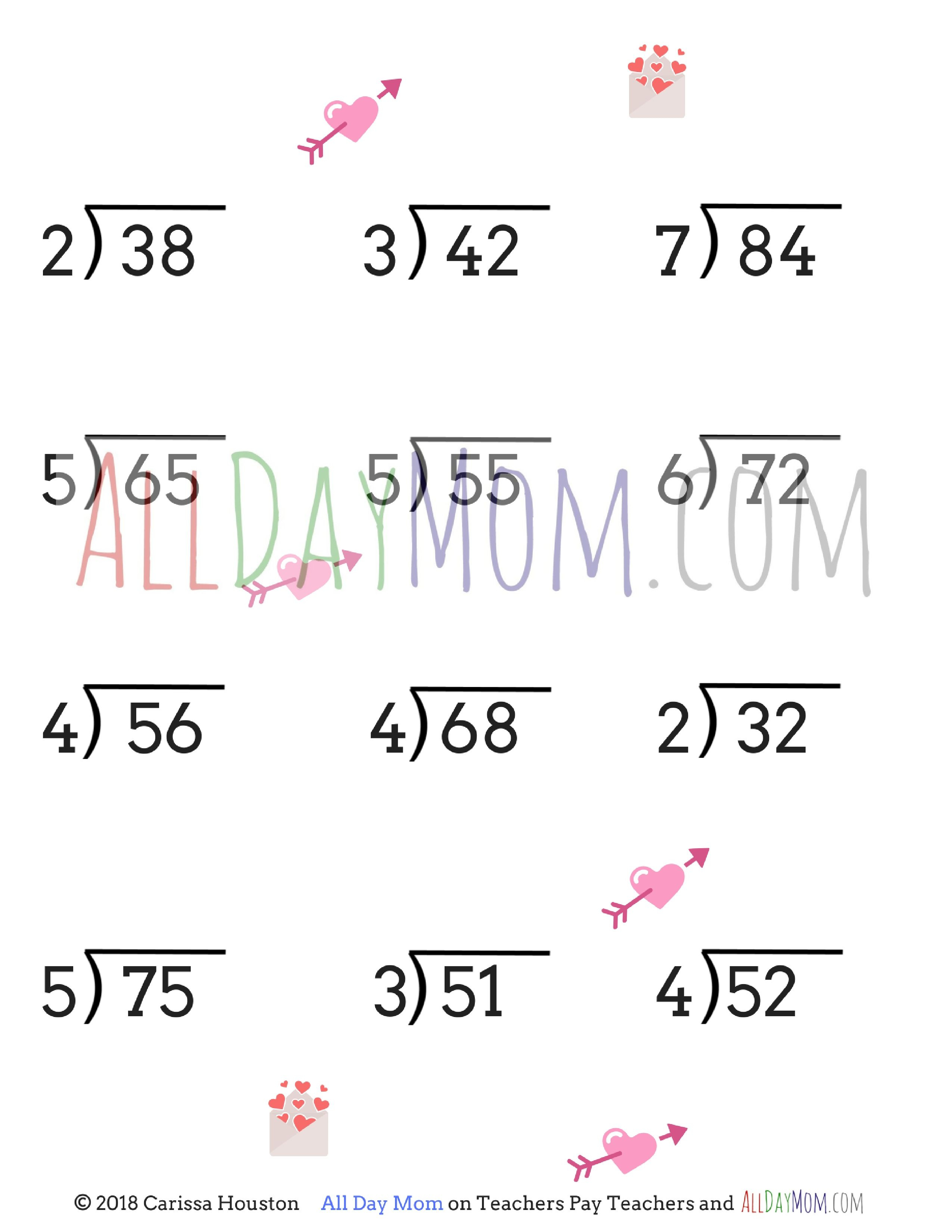 Free Printable Valentine's Day Math Worksheets! | Homeschool Math | Printable Math Worksheets Long Division