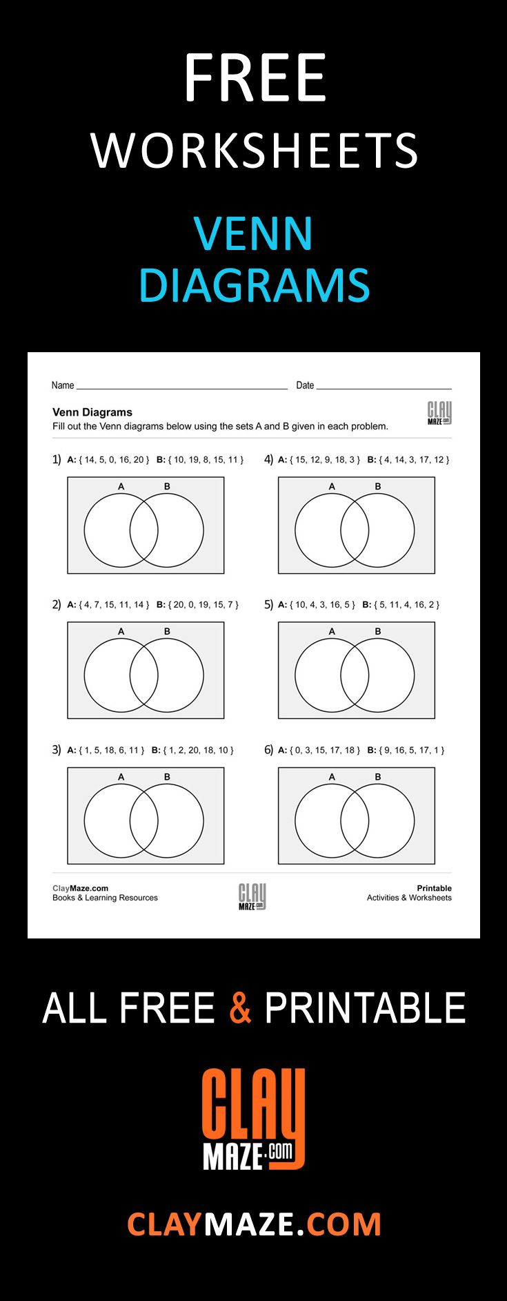 Free, Printable Venn Diagrams Worksheet - These Are Good For   Free Printable Venn Diagram Math Worksheets