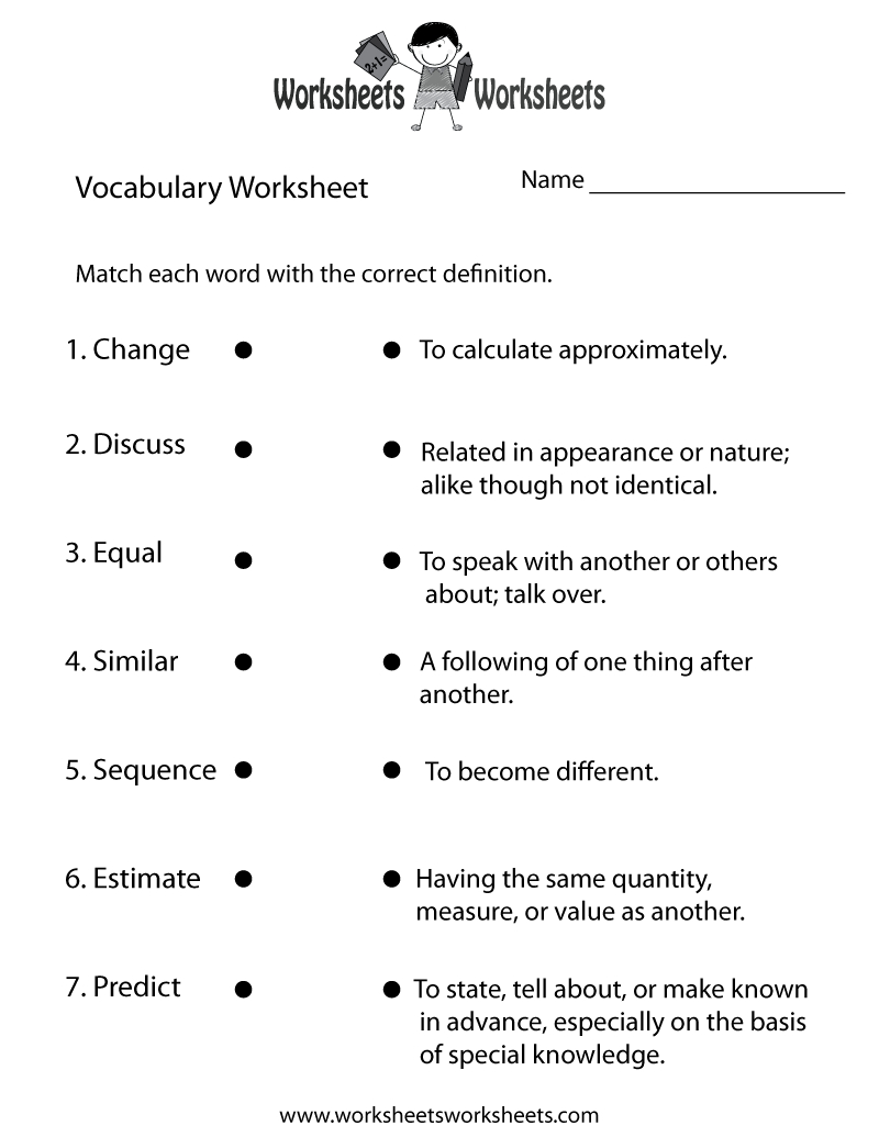 Free Printable Vocabulary Building Worksheet | Free Printable Vocabulary Worksheets