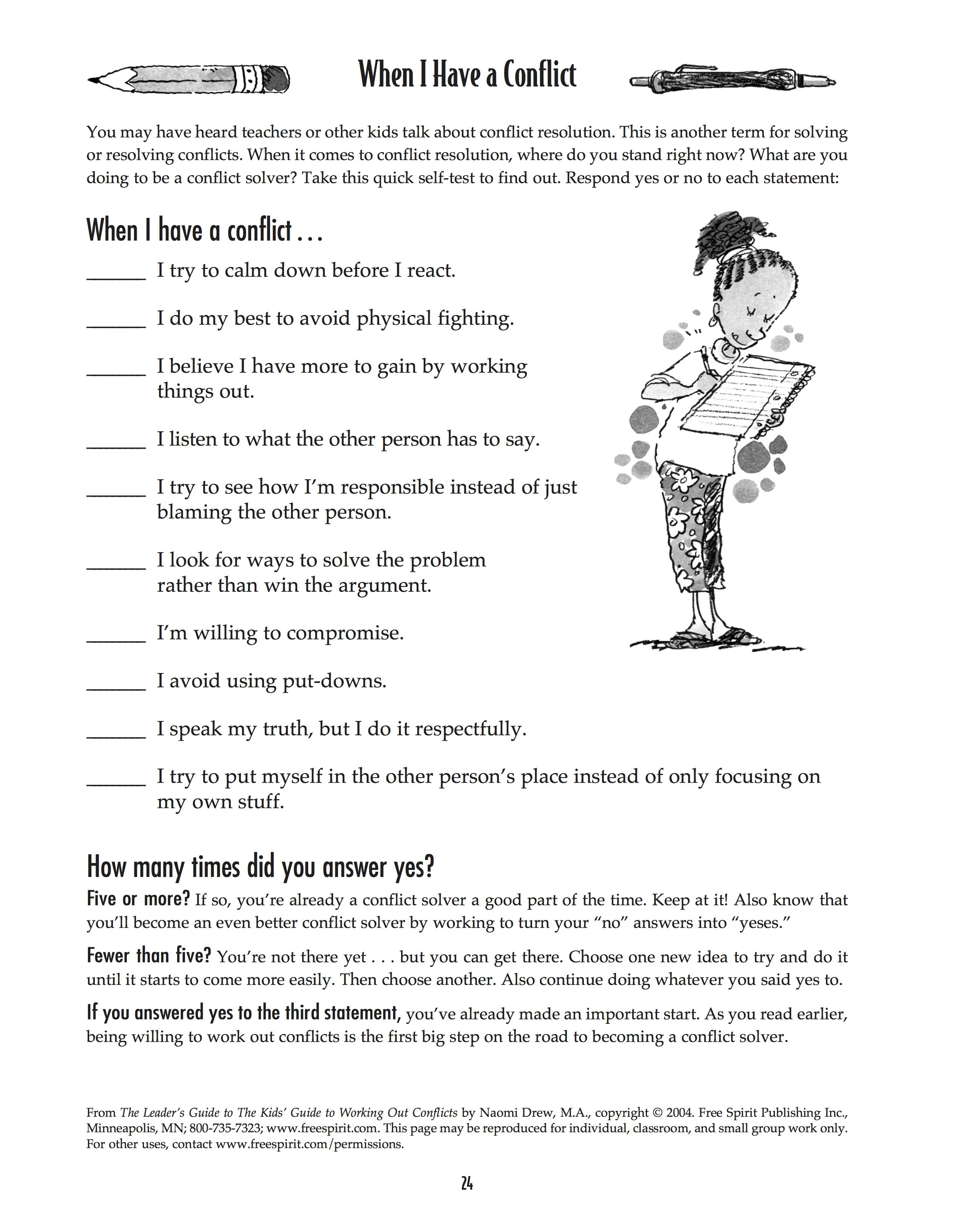 Free Printable Worksheet: When I Have A Conflict. A Quick Self-Test | Free Printable Worksheets On Means Of Communication