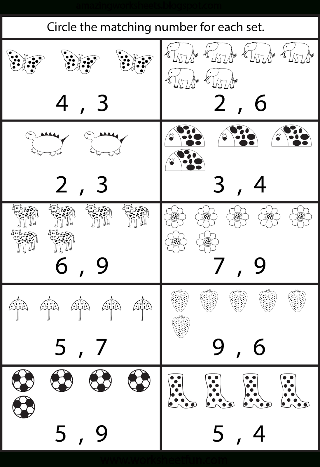 Free Printable Worksheets: Counting Worksheets For Kindergarten | At | Free Printable Worksheets For Preschool Teachers