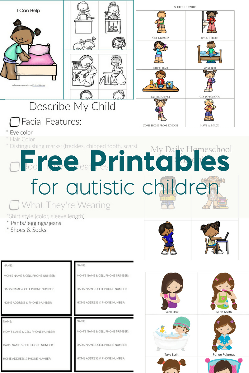Free Printables For Autistic Children And Their Families Or | Free Printable Autism Worksheets