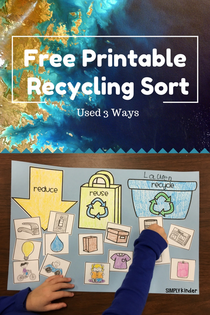 Free Recycling Sort - Simply Kinder | Free Printable Recycling Worksheets