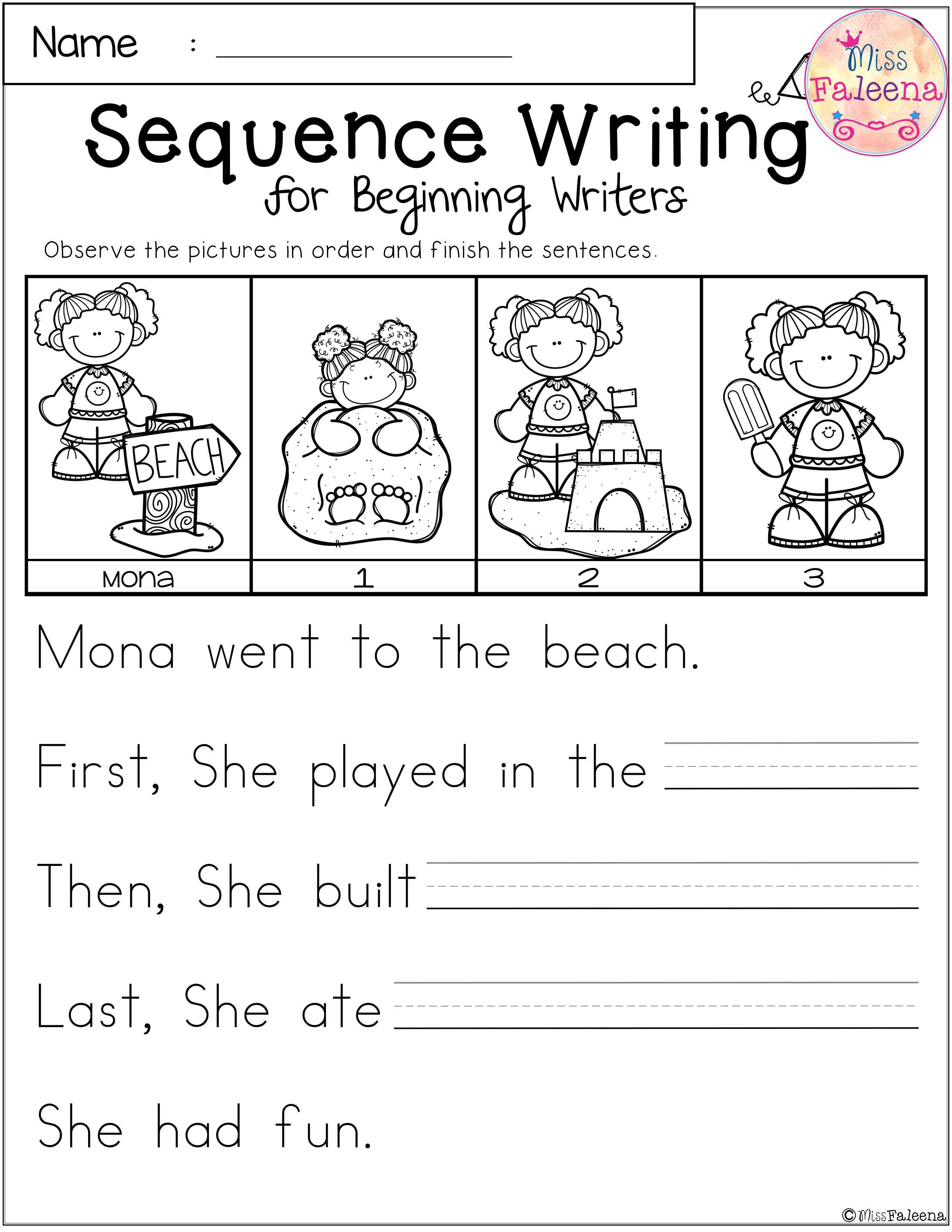Free Sequence Writing For Beginning Writers | Dear Teachers | Free Printable Sequencing Worksheets For 1St Grade