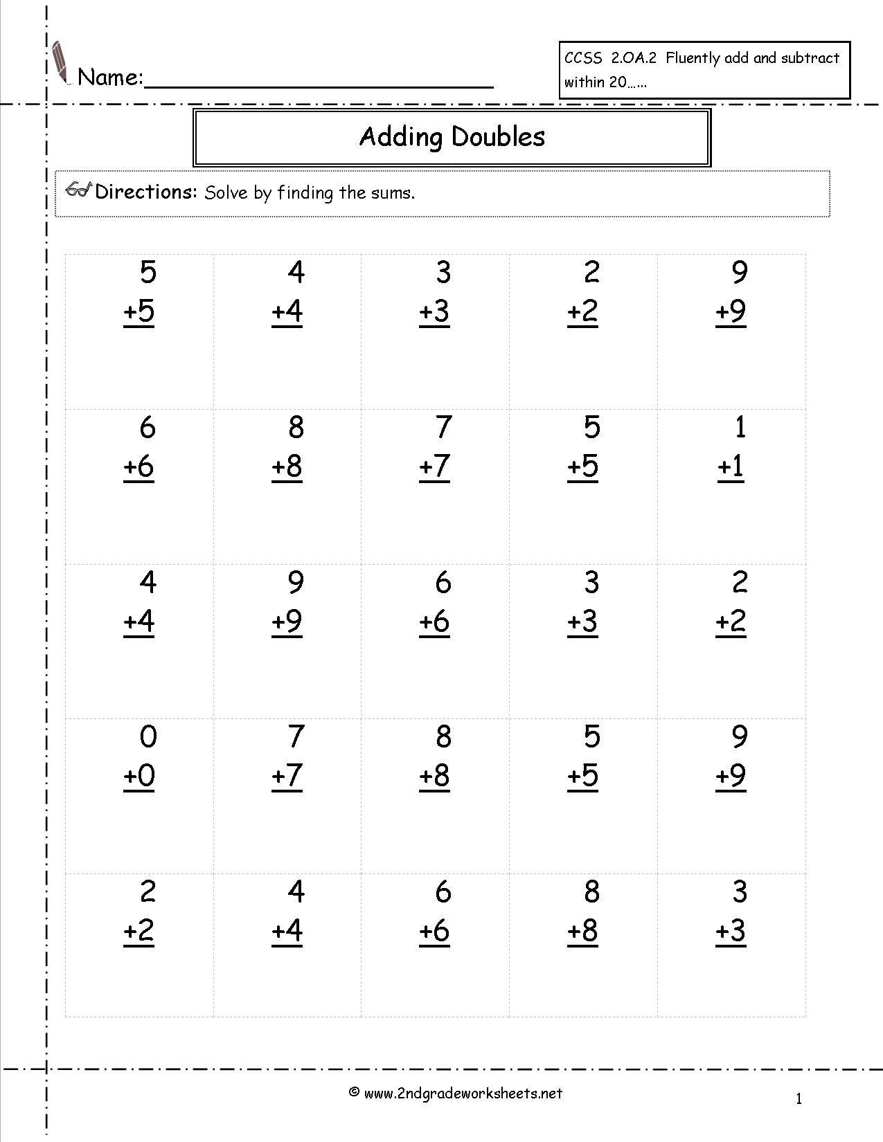 Free Single Digit Addition Worksheets | Addition Facts To 20 Printable Worksheets