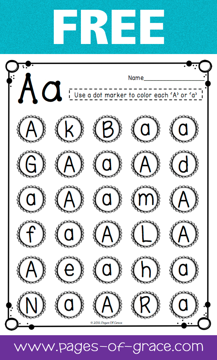 Free Uppercase & Lowercase Letter Recognition Packet | Dot Bingo | Free Printable Letter Recognition Worksheets