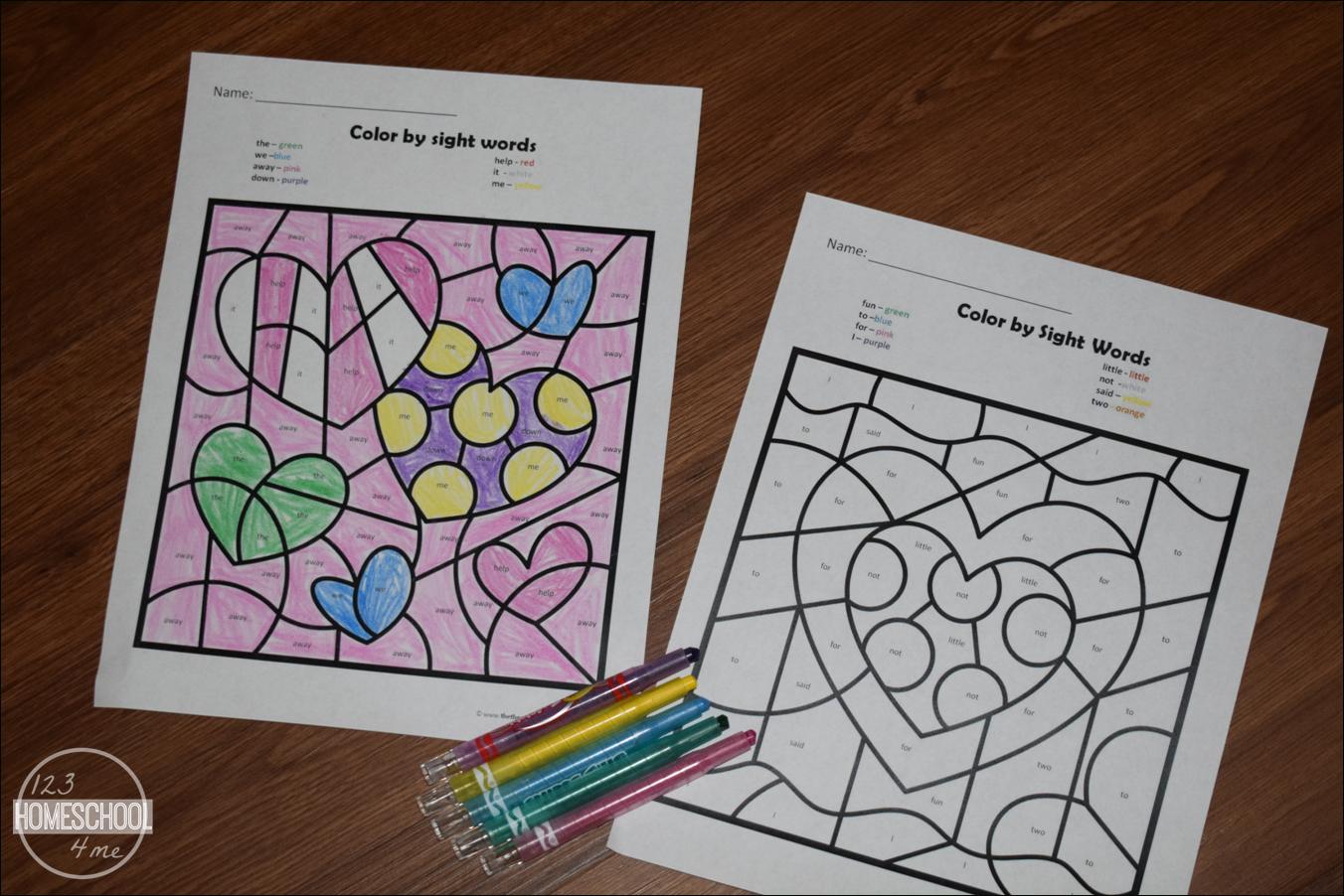 Free Valentines Day Colorsight Words | 123 Homeschool 4 Me | Free Printable Kindergarten Worksheets Color Words